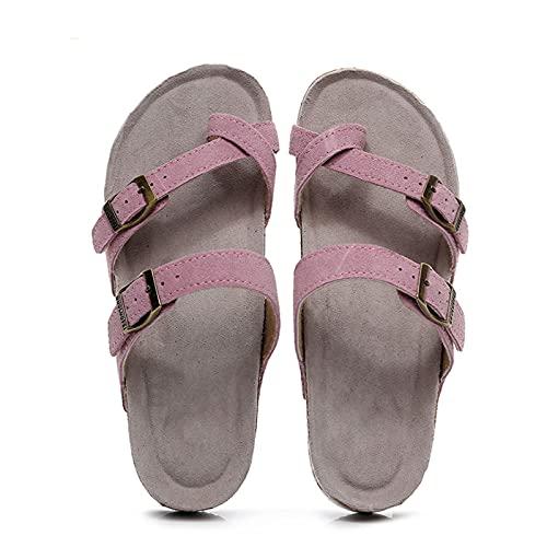 Shhyy Hombres Mujeres Toe Loop Sandalias Casual Hebilla Sandalias Playa Zapatillas con Dos Correas Ajustables Sandalias de Plataforma de Corcho cómodas,Rosado,36