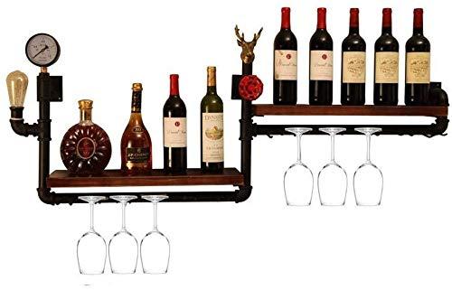 Estantería de vino Montado en la pared estante del vino, colgando tanque de almacenamiento de agua industrial puede ser colgado de vidrio, que viven estantería bar-restaurante, 10 botellas de vino cop