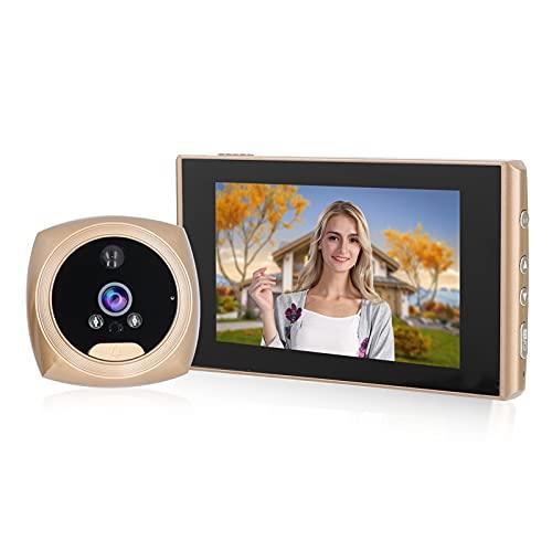 Visor de puerta digital de 4.3 pulgadas, timbre de video inteligente HD 1080P con cámara de metal para exteriores, detección de movimiento inteligente, visión nocturna para seguridad en el hogar