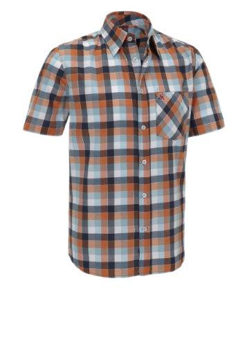 Maier Sports 142007_205 Amarillo Chemise à Manches Courtes pour Homme Bleu Blue/Orange Check 46