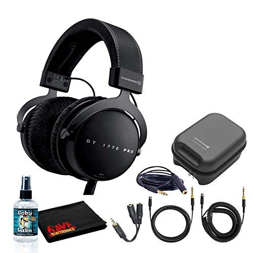 Beyerdynamic DT 1770 Pro 250 Ohm Closed-Back Studio Reference Headphones Bundle with Hard Case, Headphone Splitter, and Cleaning Solution