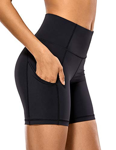 CRZ YOGA Women's High Waisted Gym Biker Workout Compression Running Shorts Pockets - Naked Feeling Light - 6 inches Black Small