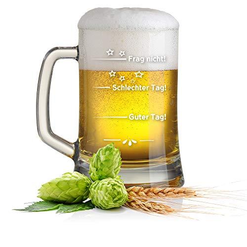 Leonardo Bierkrug Bierseidel mit Gratis Gravur - Guter Tag - Schlechter Tag - Frag nicht! - das Stimmungsglas als super Geschenkidee