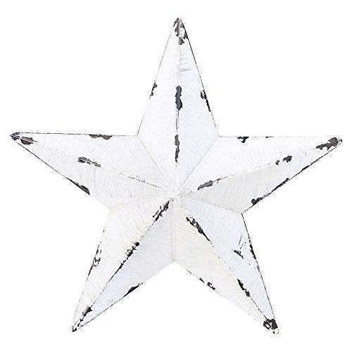 Gluck アンティーク調 ブリキ の 星の オーナメント バーンスター M 24cm ホワイト