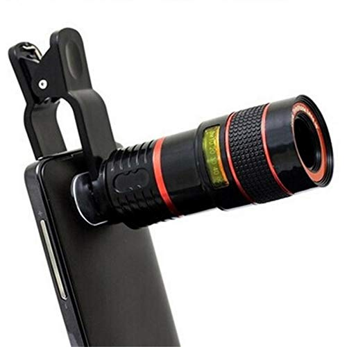 Gebuter Black 4 in 1 Clip on Cell Phone Camera Lens Kit 12X Zooms ...