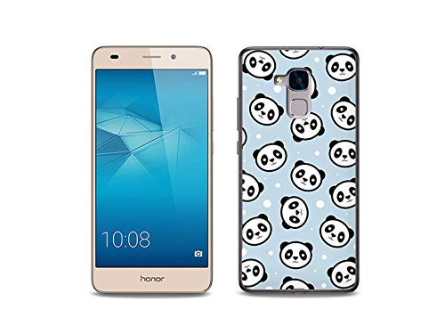 etuo Handyhülle für Huawei Honor 5C - Hülle, Silikon, Gummi Schutzhülle - Panda auf blauem Gr&