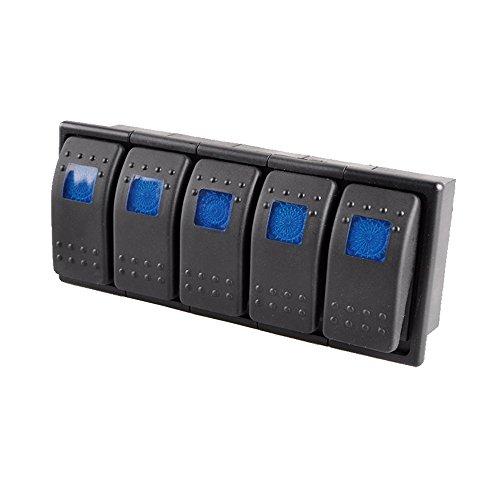 E Support 5 X KFZ Auto Offroad Kippschalter Druckschalter Schalter Wippschalter Wasserdicht 12V 20A Blau LED Licht 4Pin AN/AUS Schalterhalter