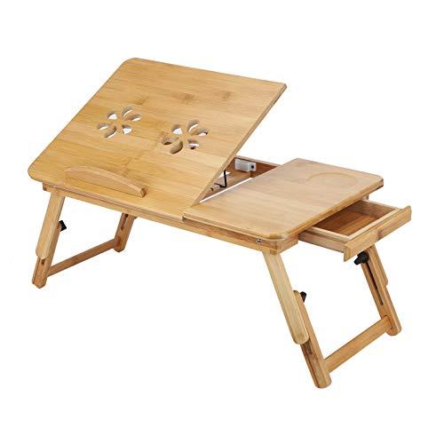 YORKING Bambus Laptoptisch Notebooktisch Knietisch Beistelltisch Tablett Betttablett mit Fach für Lesen oder Frühstück
