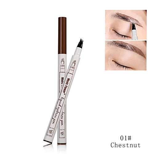 Yaogroo 2018 Tattoo Eyebrow Pencil con cuatro puntas duraderas Waterproof Brow Gel para maquillaje de ojos (01 castaña)