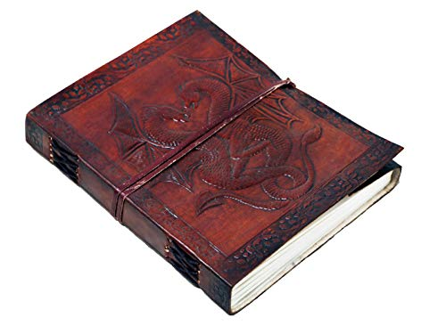 A5 cm double dragon Leather Blank Book grimoire leather journal book of shadows...