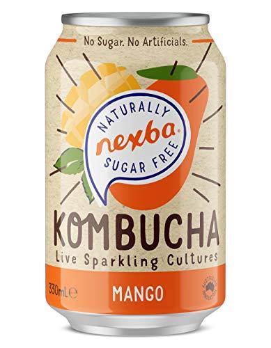Nexba Naturally Sugar Free Mango Kombucha, 12 x 330 ml Can