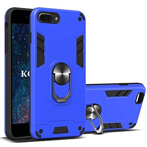 KOUYI Funda iPhone 8 Plus/iPhone 7 Plus (5,5 Pulgadas),Armor Carcasa con 360 Anillo iman Soporte Hard PC y Silicona TPU Bumper antigolpes Fundas Desmontable 2 en 1 Carcasas Case (Azul)