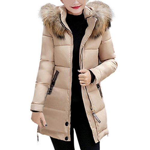 Manteau Solide Femme , Kstare Femmes Fin Doudoune à Capuche Rembourrée Long Hiver Chaud Parka pour Chien Veste Manteau XL Kaki