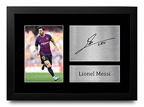 HWC Trading Lionel Messi A4 Enmarcado Regalo De Visualización De Fotos De Impresión De Imagen Impresa Autógrafo Firmado por Barcelona Los Aficionados Al Fútbol