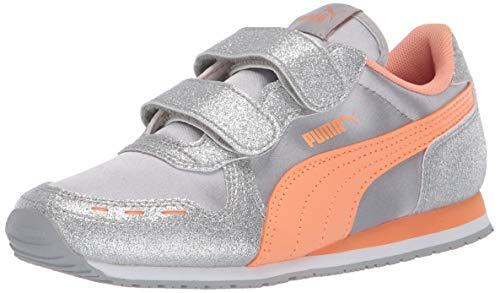 PUMA girls Cabana Racer Glitz Velcro Sneaker, Puma Silver-cantaloupe-puma White, 1 Little Kid US