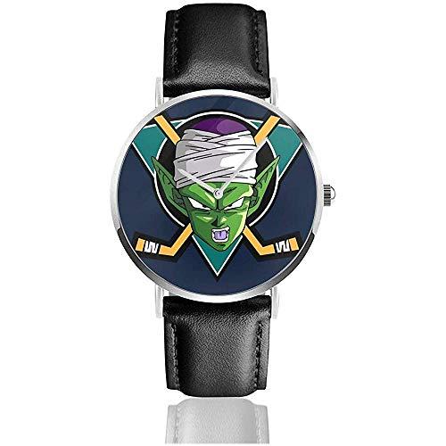 Unisex Dragon Ball Z Piccolo Mächtige Enten Mix Uhren Quarz Lederuhr mit schwarzem Lederband