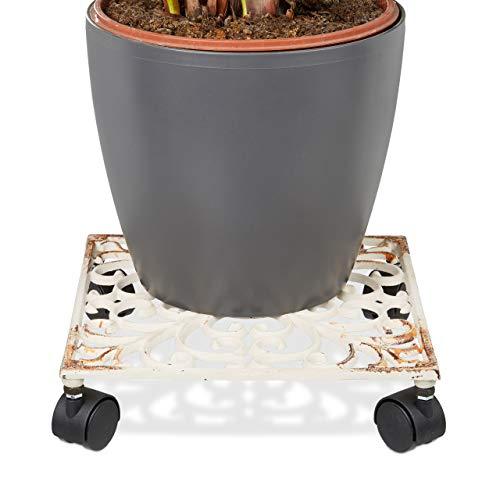 Relaxdays Pflanzenroller Gusseisen quadratisch ca. 27,5 x 27,5 cm Blumentopfuntersetzer Metall mit 4 Rollen Blumenroller im antiken Design Rolluntersetzer im Jugendstil stabil und wetterfest, weiß