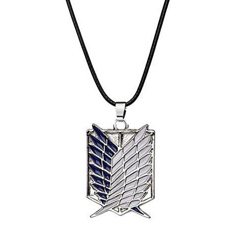 calhepco Collar con colgante de ala dual de Attack on Titan para cosplay de plata, cadena negra, regalo de juguete para hombres, mujeres y niños