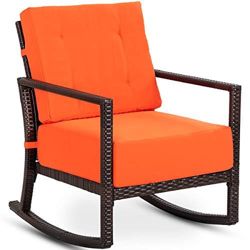 Tangkula (Orange) Rocker, Outdoor Patio Rattan Wicker Rocking Armchair Chair Furniture W/Cushion -  AM2189HM