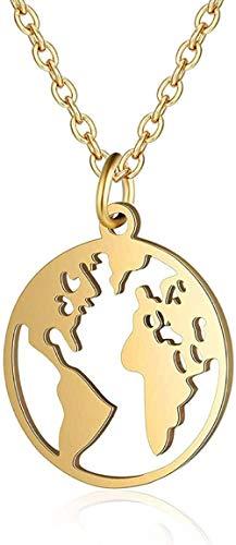 DUEJJH Co.,ltd Collar Acero Inoxidable Mapa del Mundo Collar de Encanto para MujerCollar de joyería