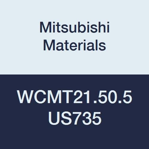 """Mitsubishi Materials WCMT21.50.5 US735 Carbide WC Type Turning Insert with Hole, Coated, Trigon, Grade US735, 0.25"""" IC, 0.094"""" Thick, 0.008"""" Corner Radius, Standard Breaker (Pack of 10)"""