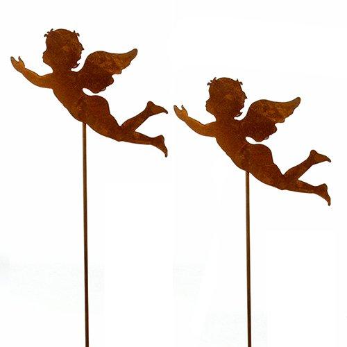 Engel, Blumenstecker 'schwebender Engel'; Metall, Rost; 60 cm; 2 Stück; Beetstecker, Adventsdeko, Weihnachtsdeko