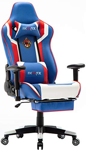Ficmax Massage Gaming Chair High Back Gamer Chair for E-Sports, Ergonomic Home Office Chair with Footrest Large Size Computer Chair for Gaming, Reclining Game Chair with Headrest and Lumbar Support chair gaming red