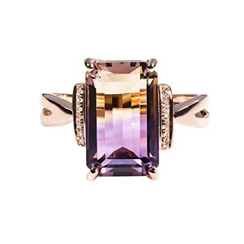 Clavie Wedding Ring for Women 5.2ct Ametrine Diamond 18K Rose Gold Size S 1/2