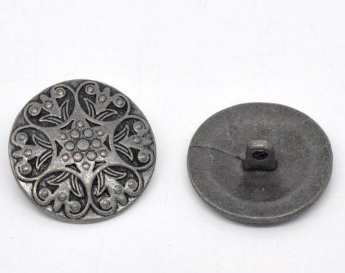 SiAura Material 10 Stück Metallknöpfe, antiksilber, Keltic -Muster, Ø ca. 25mm, Lochgröße 2,4mm