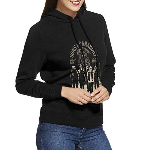 N / A Sons of Anarchy Women's Hoodie Sweatshirt Long-Sleeve Baumwolle Damen Hooded No Pocket Sweatshirt Kapuzenpulli S