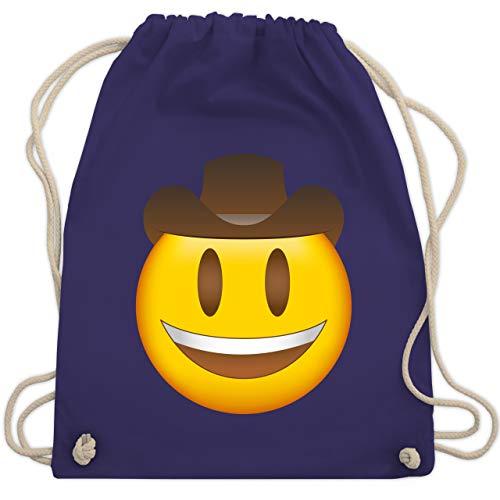 Comic Shirts - Emoticon Cowboy-Hut - Unisize - Lila - hut schwarz - WM110 - Turnbeutel und Stoffbeutel aus Baumwolle