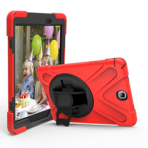 IVY 360 Degrees Kickstand Case Cover Compatible with Samsung Galaxy Tab A 9.7 2015 (SM-T550) Stand Case with Wrist Strap and Shoulder Strap - Red