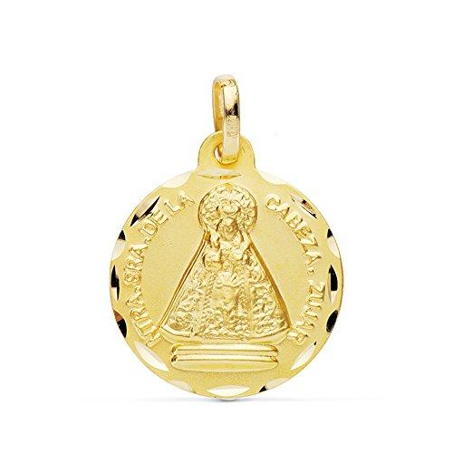 Medalla Virgen de la Cabeza tallada 18 Ktes 18mm