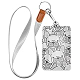 Dog French Bulldog Puppy Badge Holder Vertical PU Leather ID Card Case Wallet with Detachable Neck Lanyard for Office School