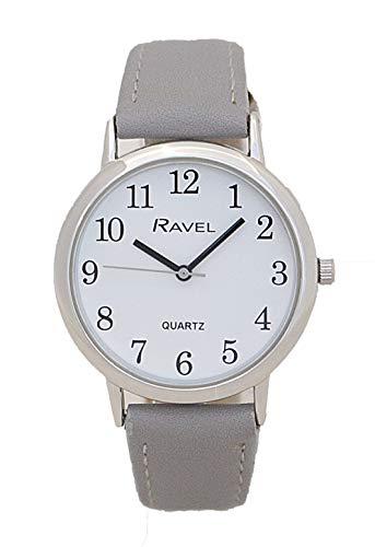 Ravel Unisex Ronde Witte Wijzerplaat Horloge Met Grijze Band R0137.13.1