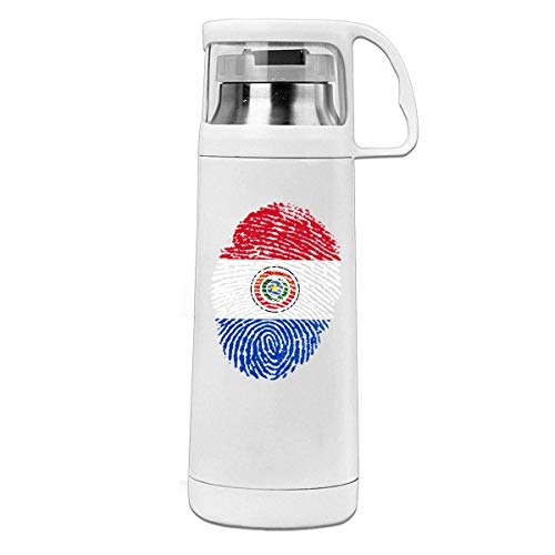 Bestqe Termo,Botella de agua,Tazas térmicas Paraguay DNA Fingerprint Insulated Stainless Steel Thermos Cup Portable Water Bottle with Handle Vacuum Tea Cup Travel Mug