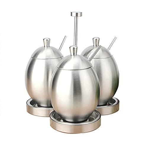 304 la ciotola di zucchero dell'acciaio inossidabile con coperchio e cucchiaio per casa, forma dell'uovo spezia della cucina grande condimento scatola del sale shaker in argento stoccaggio casa