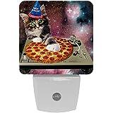 Cat Star Sky - Luz de noche LED con sensor de atardecer a amanecer, brillo blanco frío para pasillo, habitación de niños, cocina, paquete de 2