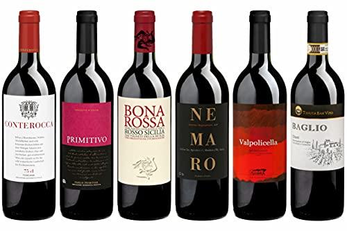 Weinpaket «Bella Italia», Rotwein-Reise durch Italien: Piemont, Veneto, Toskana, Sizilien. Biowein trocken von DELINAT (6 x 0,75 l)