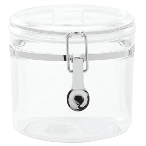 """HUBERT Kitchen Canister Clear Plastic Round 37 Ounce - 5""""Dia x 5 1/2""""H"""