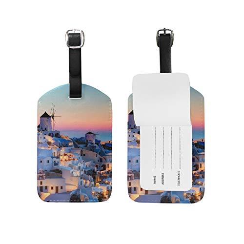 Eslifey Grecia Santorini Caldera Sunset Landscape PU cuero maleta etiquetas etiqueta etiqueta etiqueta de equipaje privacidad cubierta para bolsa de viaje
