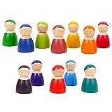 Makasy Montessori Conjunto de 12 Rainbow Friends Peg Dolls De Madera Juego de simulación Personas Figuras Bebé Juguete Seguridad Ambiental Color