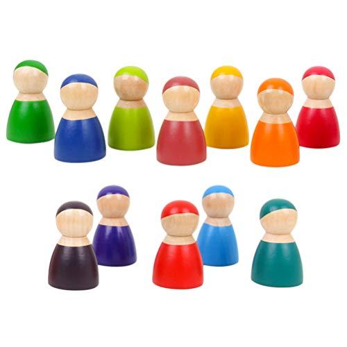 Makasy Montessori Set Von 12 Regenbogen Freunde Peg Puppen Holz Pretend Spielen Menschen Figuren Baby Spielzeug Umwelt Sicherheits Farbe
