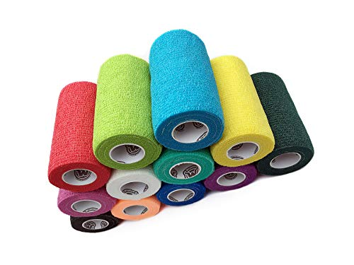 WildCow Vet Wrap Bulk Bandage Tape (4 Inch 12 Color Pack), Waterproof Self Adherent Cohesive Rolls