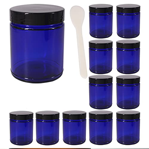 BPFY 12 Pack Round Blue 8 oz Glass Jars with Black Lids Refillable Glass Cosmetic Containers for Makeup, Cream, Sugar Scrubs, Bath Salts, Glass Cosmetic Jars with Lids Candle Jars with Lids, Spatula, Chalk Labels, Pen