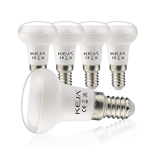 Lampadina a LED E14, 5 pezzi, 7 Watt, 600 lumen per lampadina, equivalente a una lampadina a incandescenza da 60 Watt, 2700 Kelvin, luce bianca calda, R50, angolo di irradiazione 120°