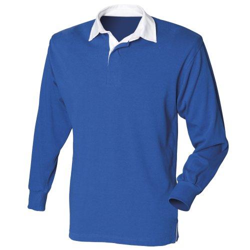 Front Row - T-shirt de rugby à manches longues en coton - Homme (L) (Bleu roi)