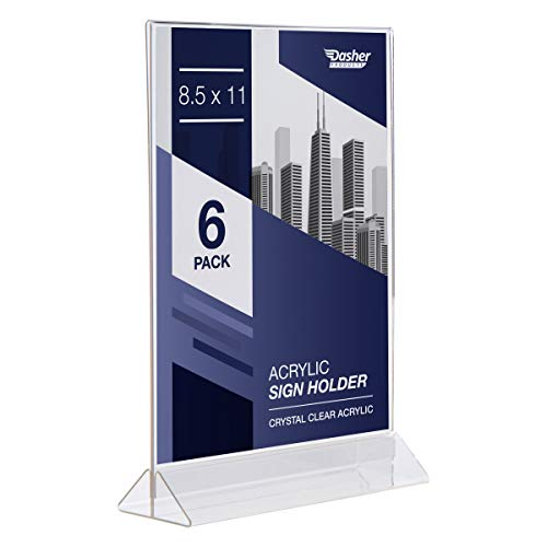 Acrylic Sign Holder 8.5 x 11 - T Shape Menu Holder with Easy Bottom Loading Design, 8.5x11 Plastic Sign Holder for Signs, Brochure, Flyer, Menu, Display, and More. Double Sided Display Stands (6 Pack)