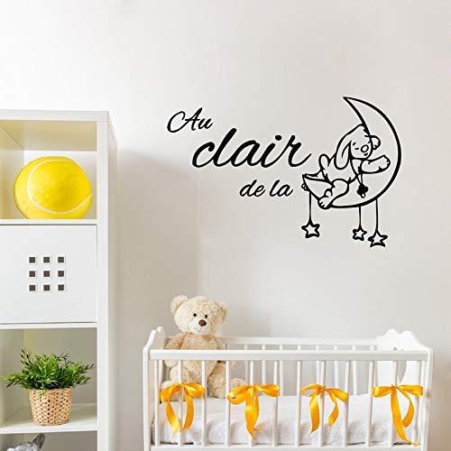 Lindo dibujo animado francés decoración de la habitación del bebé Au clair de la lune pegatinas de pared de vinilo decoración de dormitorio de niños franceses pegatinas de pared A9 90x56 cm