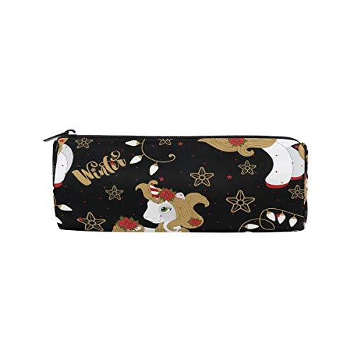ARRISLIFE Winter Unicorn Student Pencil Pen Bag Pouch Case Cosmetic Makeup Bag